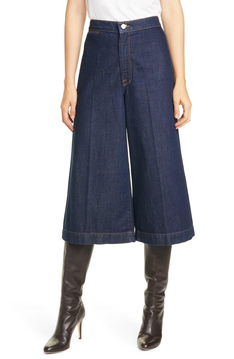 FRAME Le Culotte High Waist Cotton Denim Culottes, Main, color, ROBERTSON