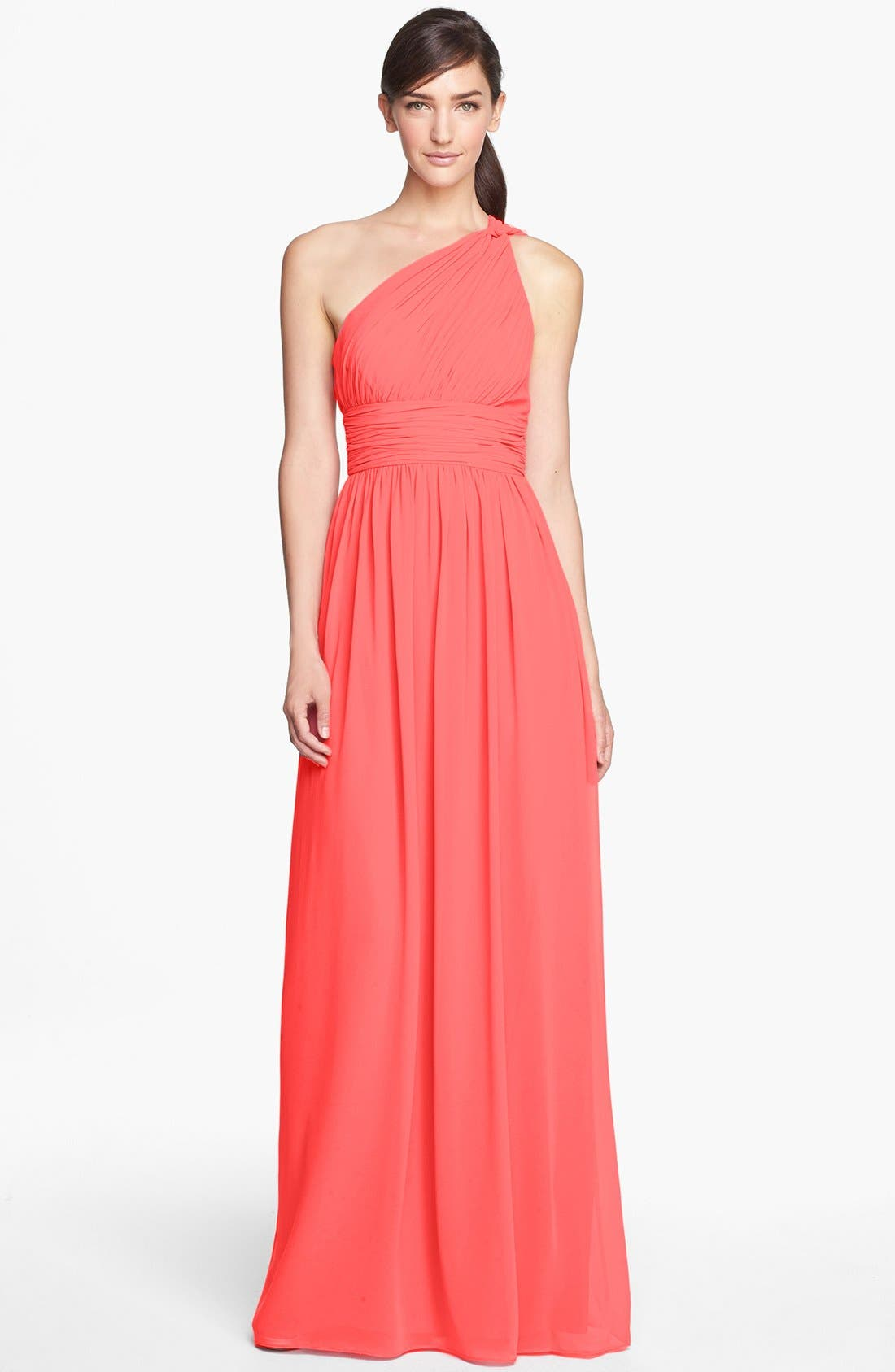 ,                             'Rachel' Ruched One-Shoulder Chiffon Gown,                             Main thumbnail 141, color,                             955
