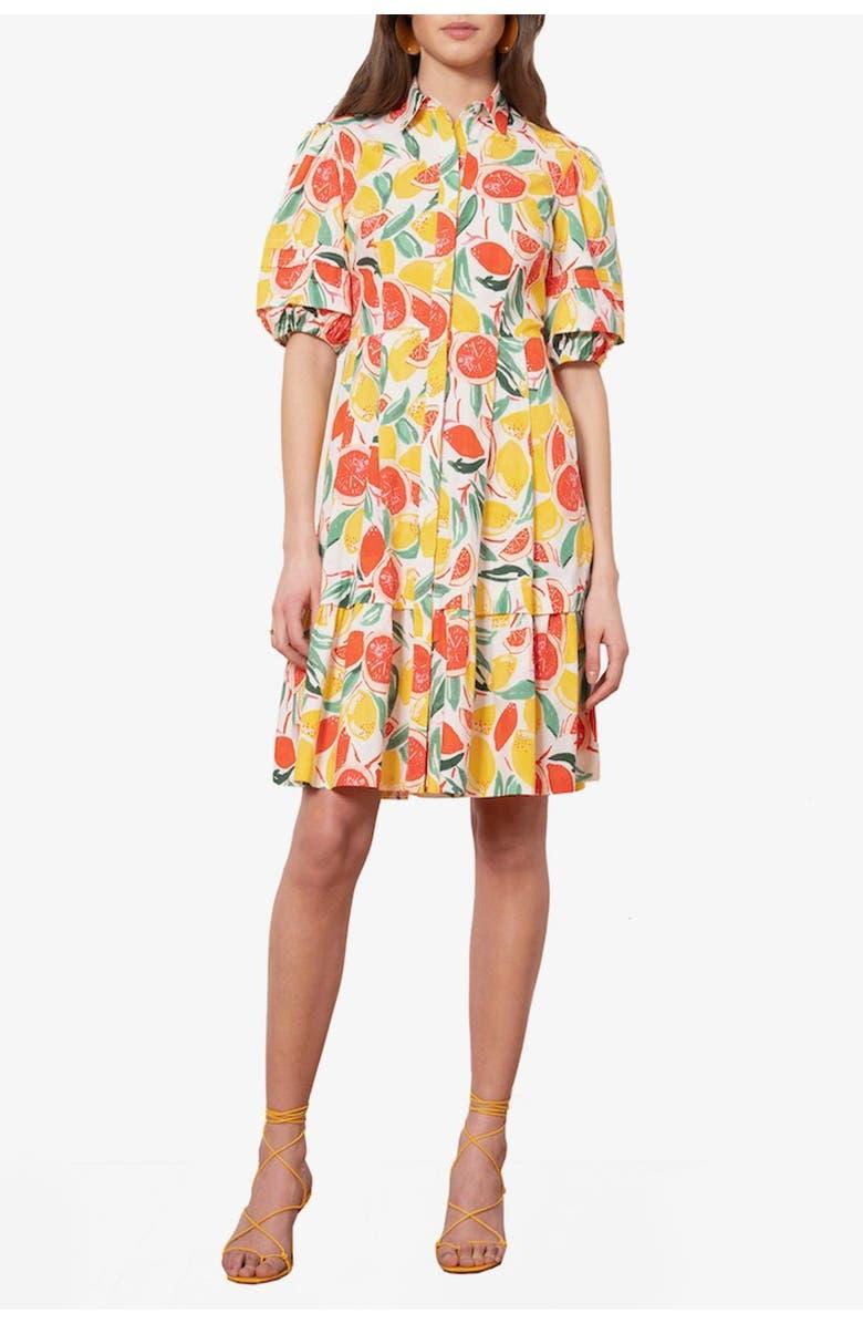 DONNA MORGAN Puff Sleeve Lemon Print Dress, Main, color, WHITE MULTI