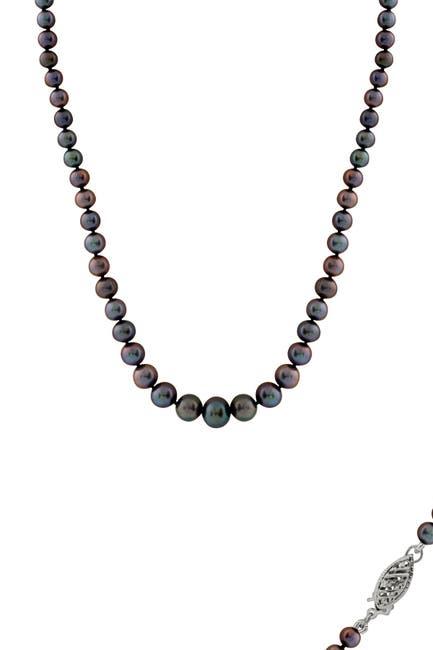 Image of Splendid Pearls 3-9mm Black Graduated Freshwater Pearl Necklace