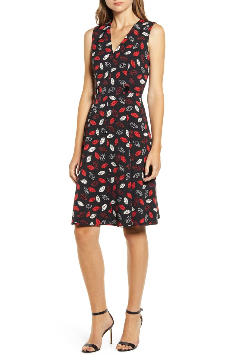 ANNE KLEIN Sonoma Coast Fit & Flare Dress, Main, color, ANNE BLACK/ PINOT COMBO