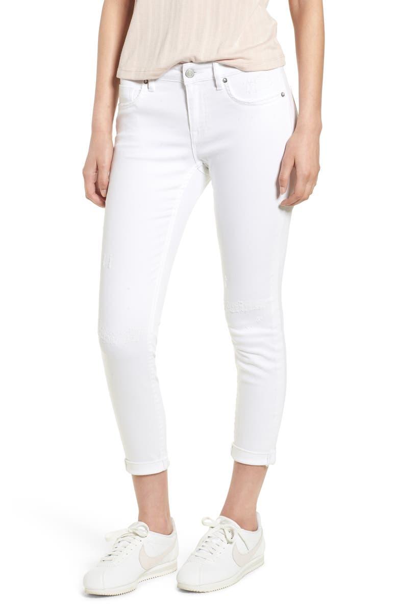 VIGOSS Thompson Tomboy Distressed Cuffed Crop Skinny Jeans, Main, color, 100