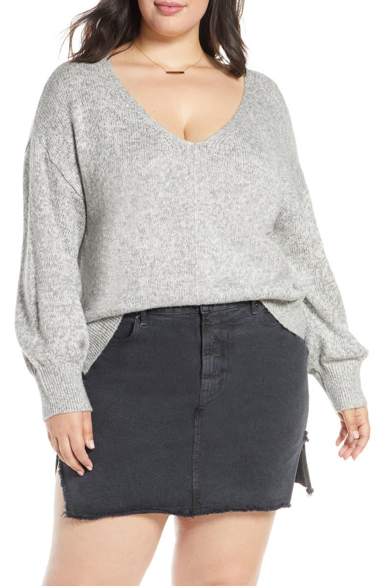 BP. Everyday V-Neck Sweater, Main, color, GREY MEDIUM HEATHER MARL