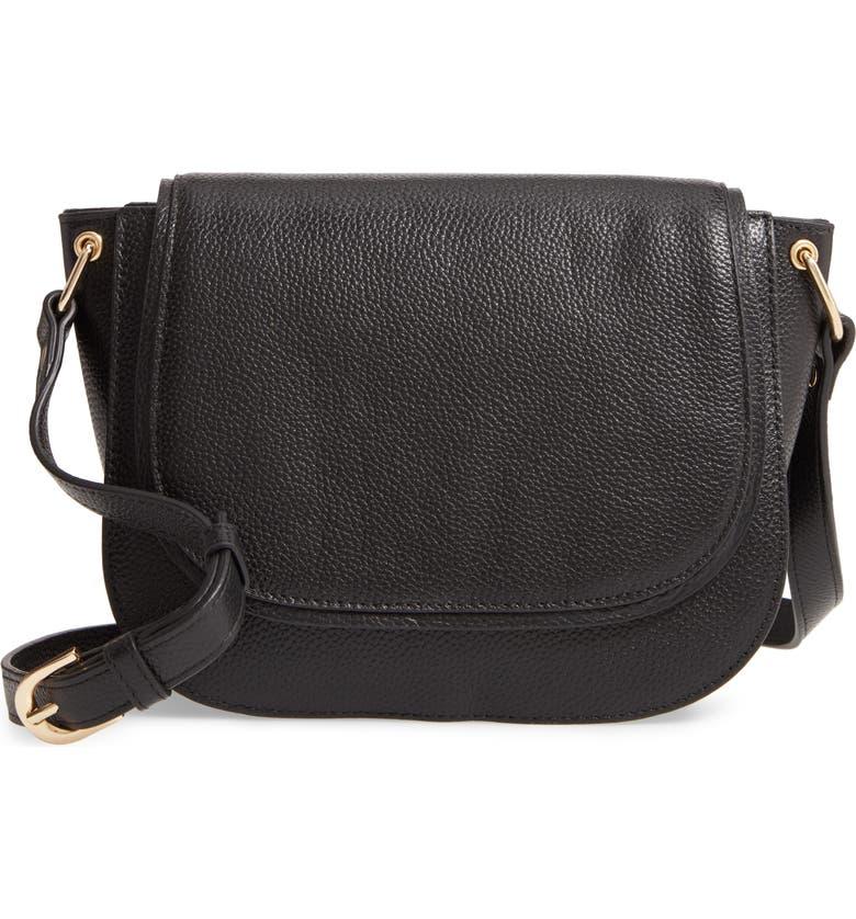 NORDSTROM Pebbled Leather Shoulder Bag, Main, color, 001