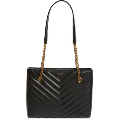 Saint Laurent Small Tribeca Quilted Calfskin Leather Tote - Black