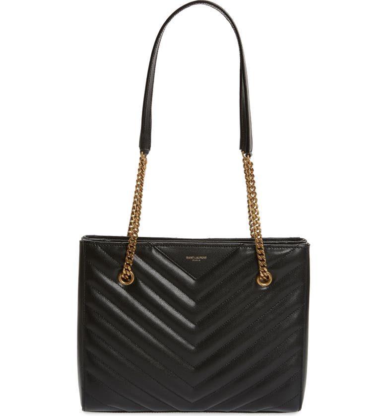 SAINT LAURENT Small Tribeca Quilted Calfskin Leather Tote, Main, color, NOIR