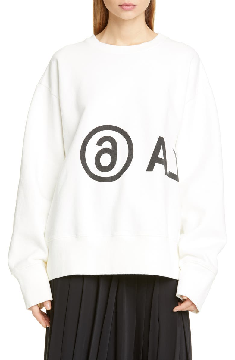 MM6 MAISON MARGIELA Logo Sweatshirt, Main, color, OFF WHITE