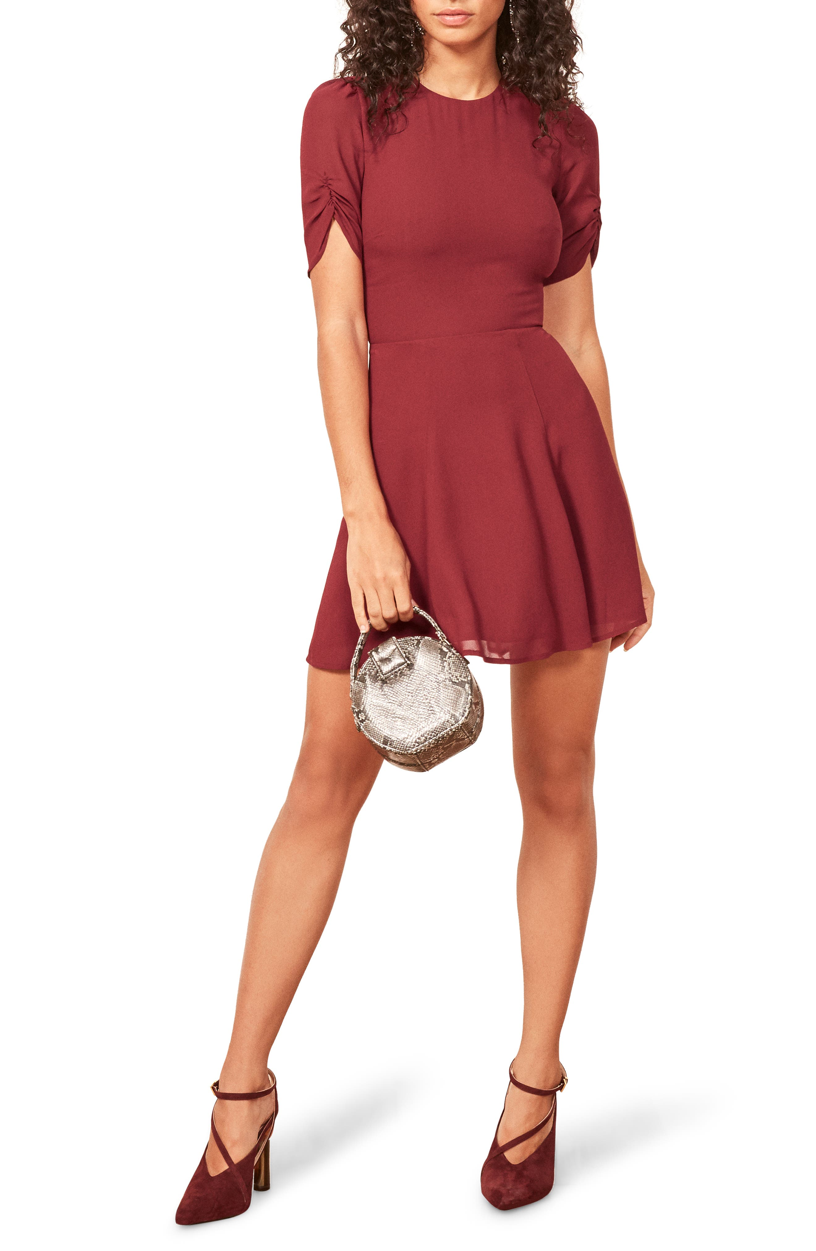 Reformation Gracie Ruched Sleeve Minidress, Red