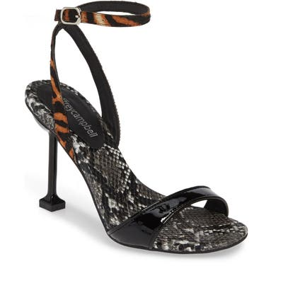 Jeffrey Campbell Angelic Genuine Calf Hair Ankle Strap Sandal, Black