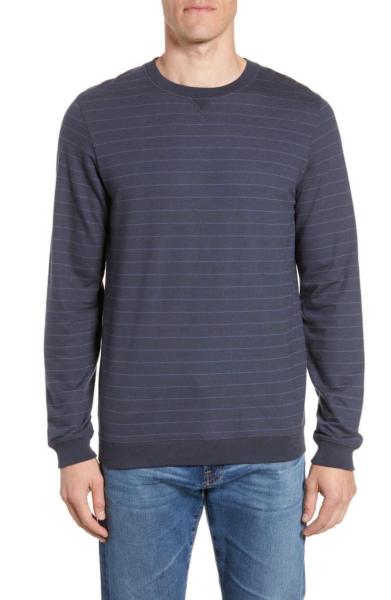 TRAVISMATHEW Carlin Pinstripe Sweatshirt, Main, color, BLUE NIGHTS/ VINTAGE INDIGO
