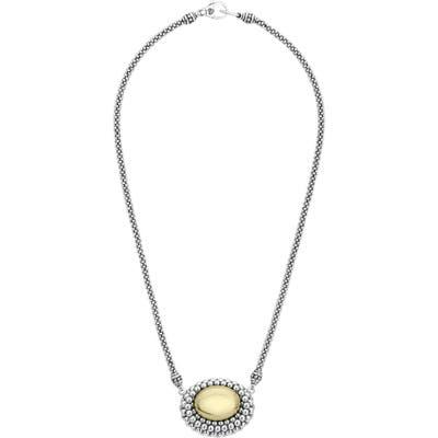 Lagos High Bar Caviar Oval Pendant Necklace