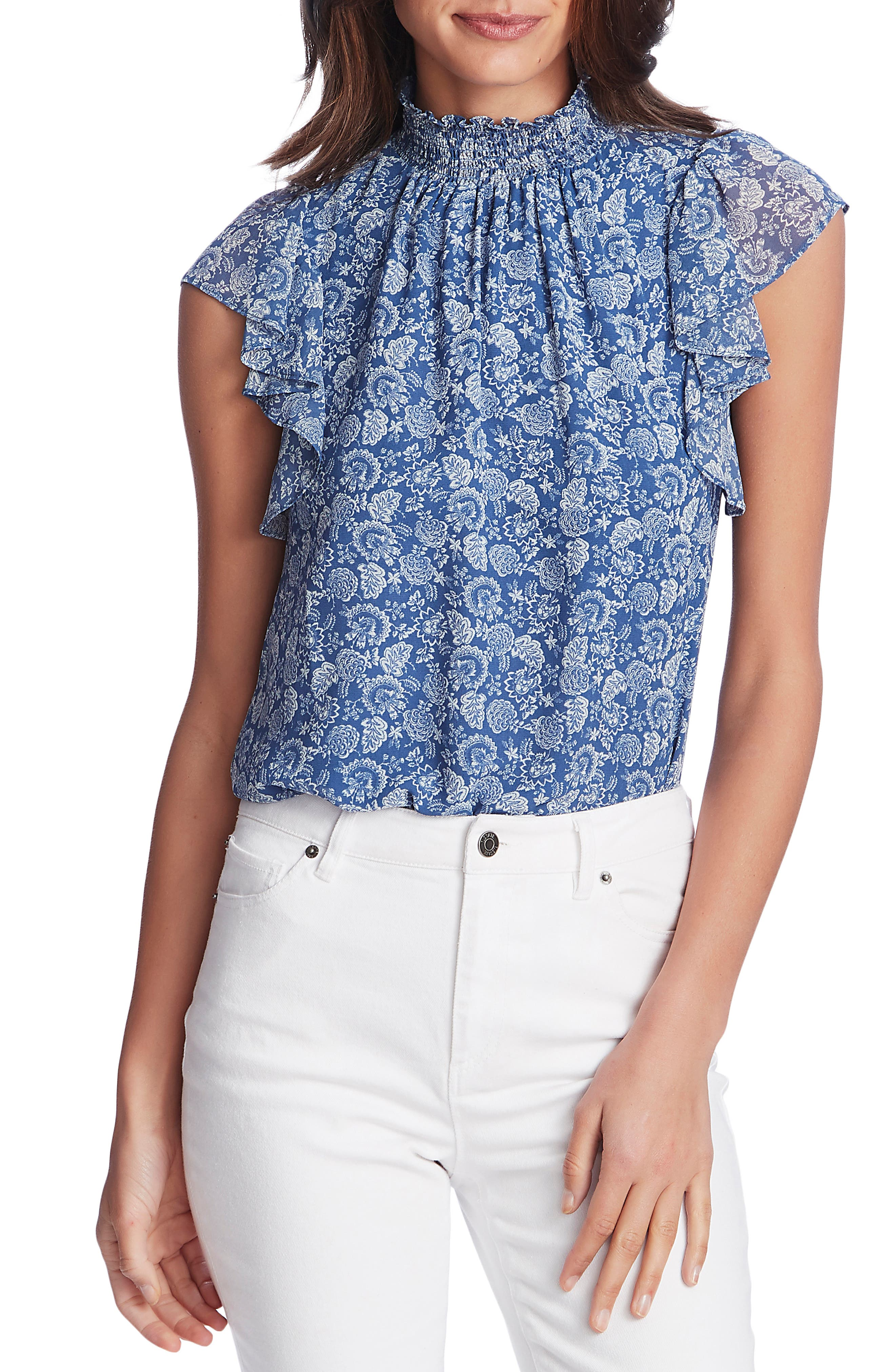 Image of 1.State Calico Fans Flutter Sleeve Top