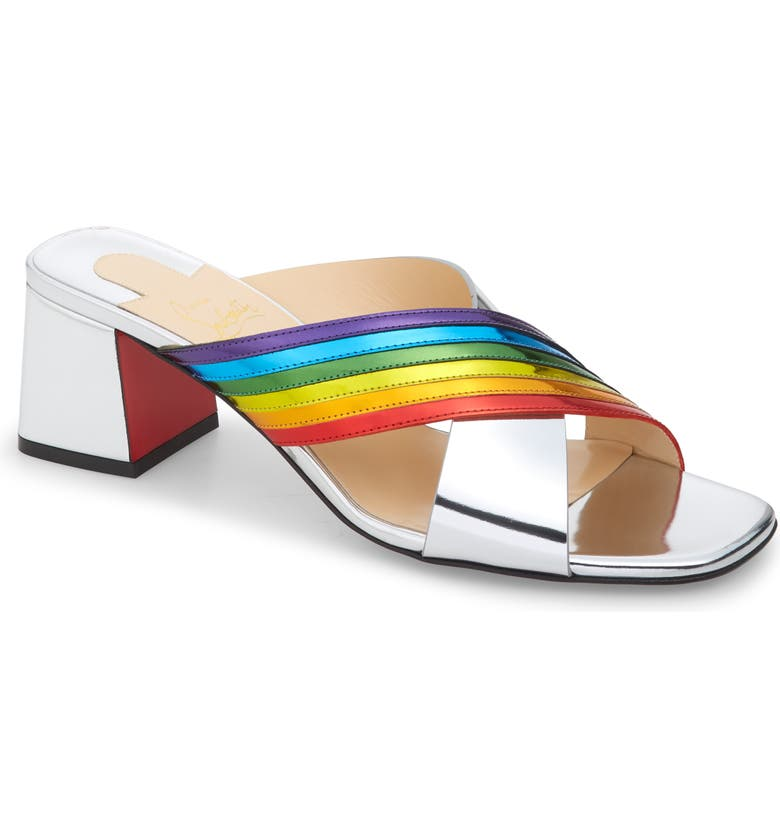 CHRISTIAN LOUBOUTIN Arkenmule Rainbow Metallic Leather Slide Sandal, Main, color, SILVER/ MULTI