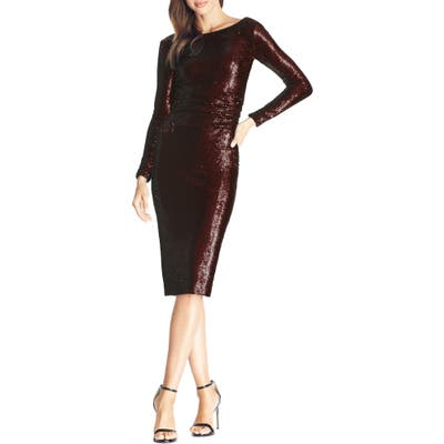 Dress The Population Emilia Sequin Long Sleeve Cocktail Dress, Red