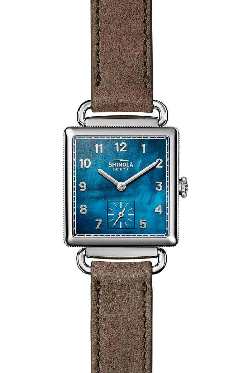 SHINOLA Cass Leather Strap Watch, 28mm, Main, color, GREY/ NAVY MOTHER OF PEARL