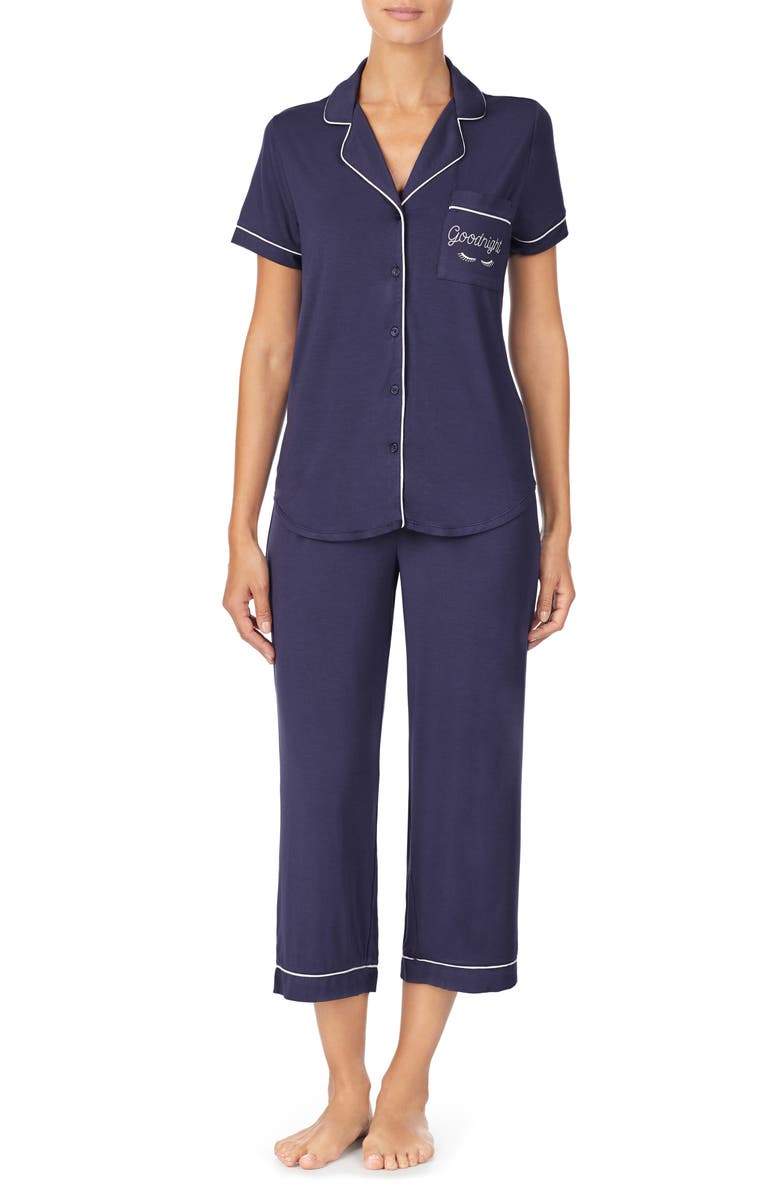 KATE SPADE NEW YORK capri pajamas, Main, color, DARK BLUE/ NAVY