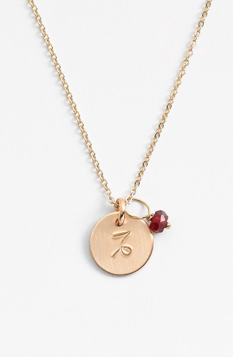 NASHELLE 14k-Gold Fill & Semiprecious Birthstone Zodiac Mini Disc Necklace, Main, color, CAPRICORN