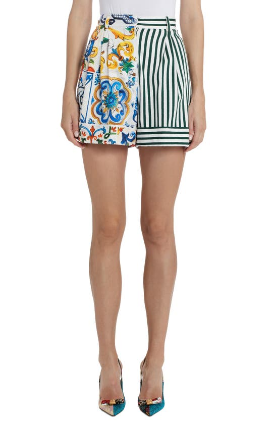 Dolce & Gabbana Shorts PATCHWORK PLEAT SHORTS