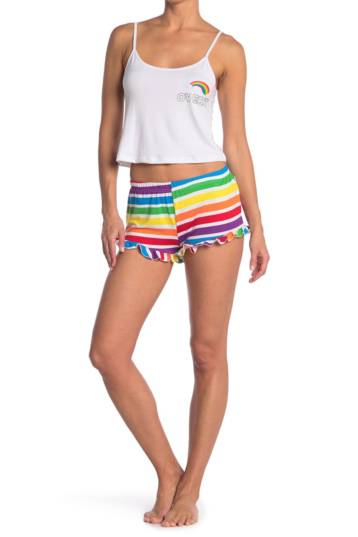 Image of FRENCH AFFAIR Over It Cami Top & Striped Shorts Pajama Set