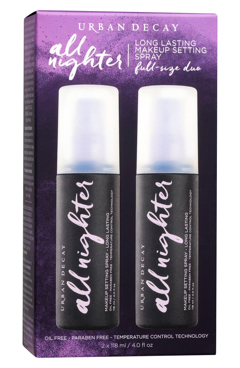 URBAN DECAY All Nighter Makeup Setting Spray Duo, Main, color, NO COLOR