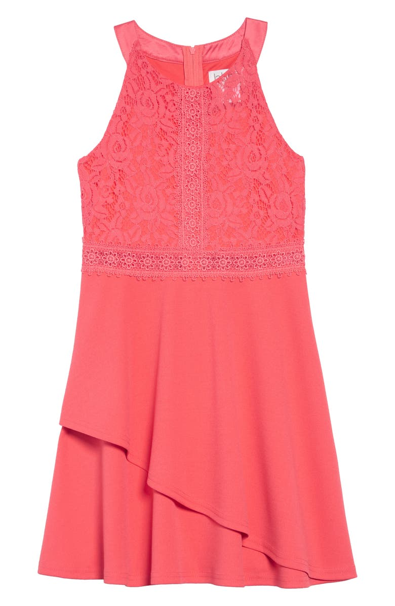 BLUSH BY US ANGELS Floral Lace Tiered Dress, Main, color, WATERMELON