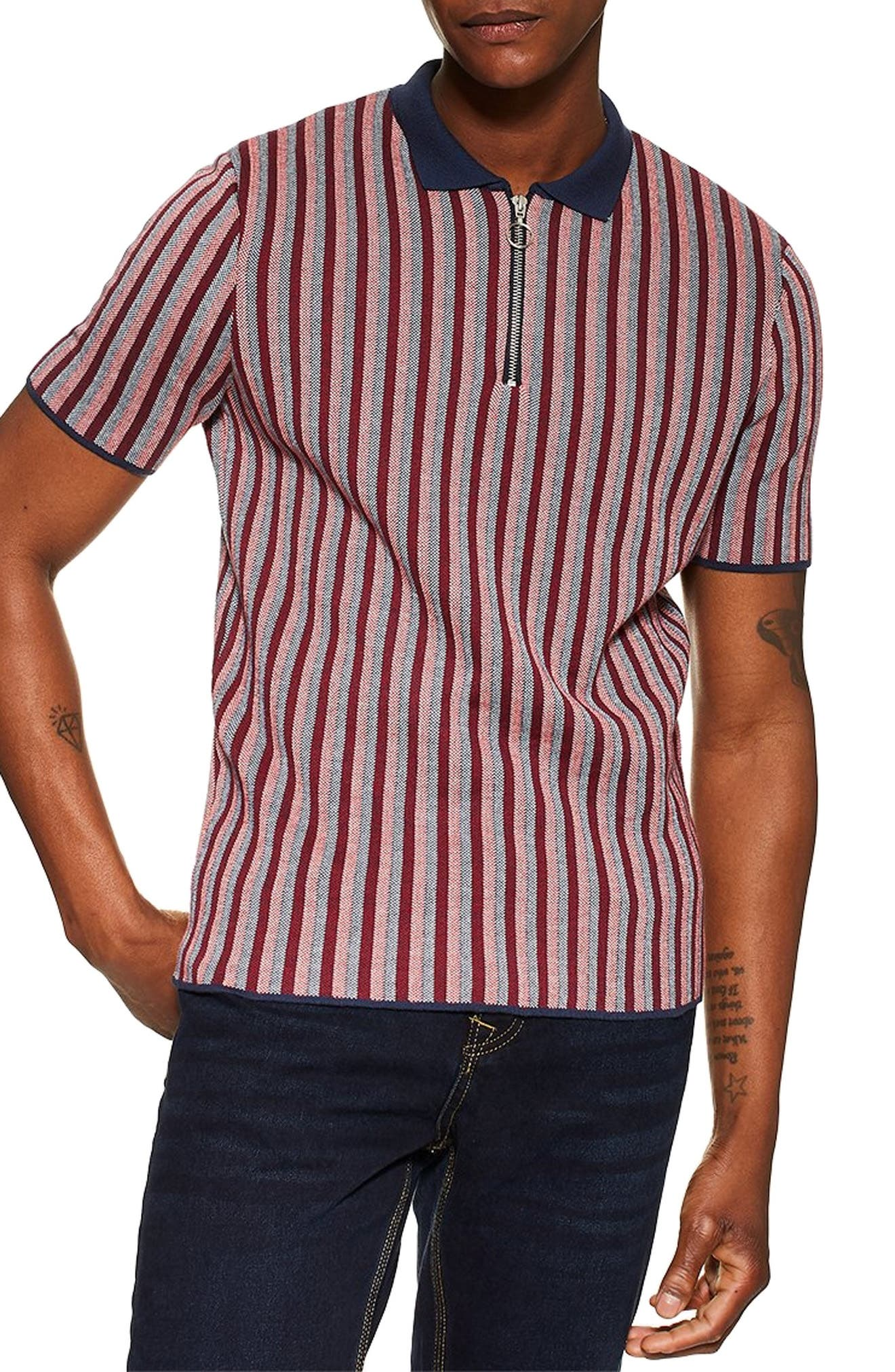 1960s Men's Clothing, 70s Men's Fashion Mens Topman Birds Eye Stripe Polo $29.98 AT vintagedancer.com