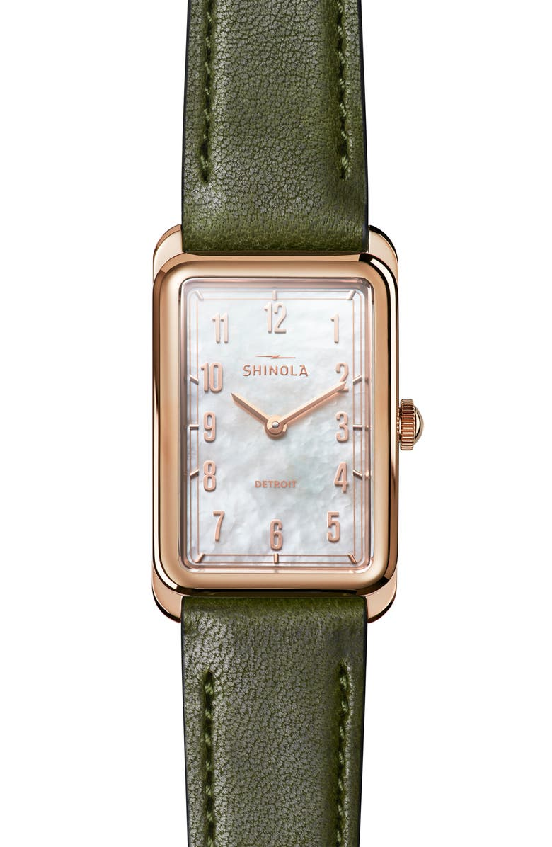 SHINOLA The Muldowney Rectangular Leather Strap Watch, 24mm x 32mm, Main, color, SPRUCE/ WHITE MOP/ ROSE GOLD