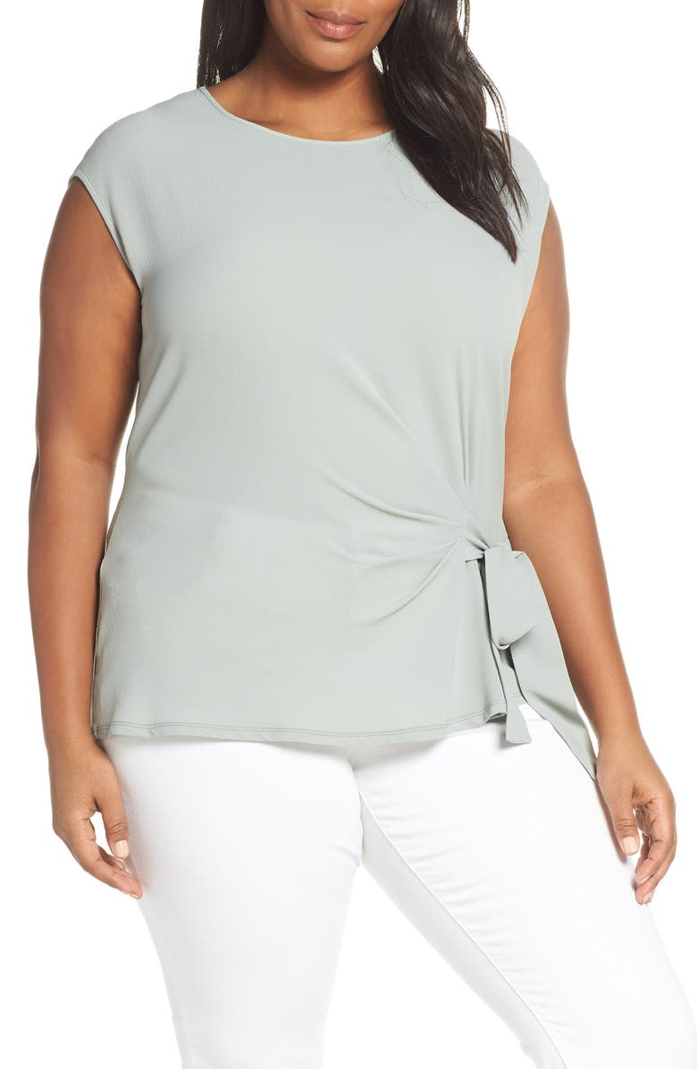VINCE CAMUTO Tie Front Blouse, Main, color, SMOKED SAGE