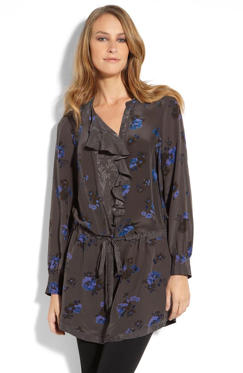 REBECCA TAYLOR Floral Print Shirtdress, Main, color, 023