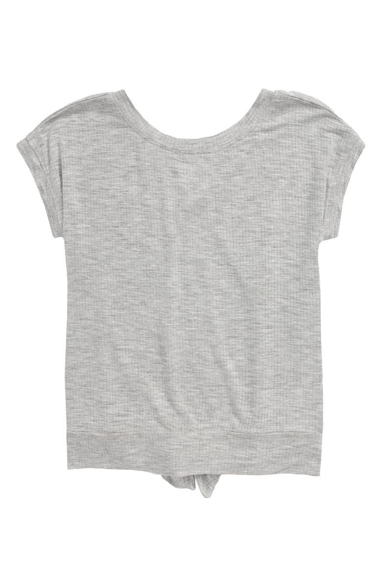 ZELLA GIRL Split Back Rib T-Shirt, Main, color, GREY ASH HEATHER
