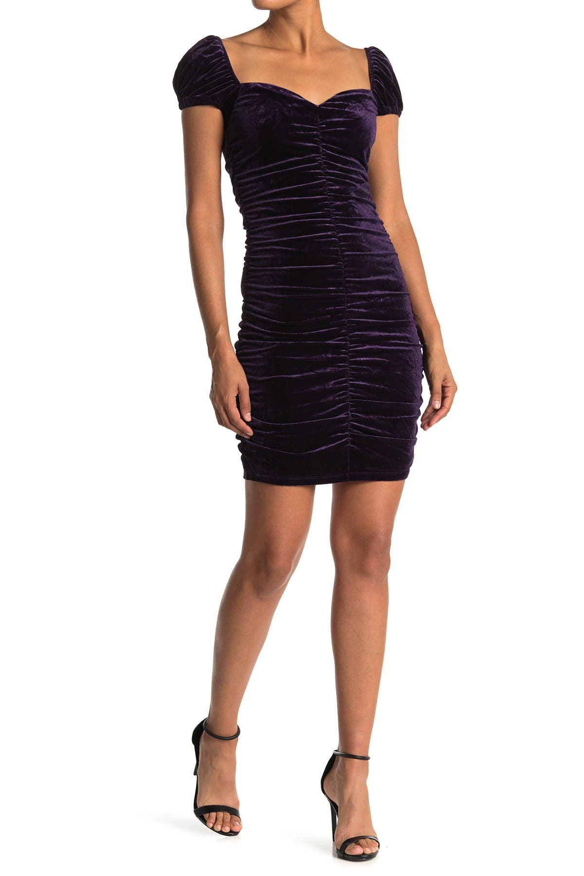 Image of Lush Velvet Sweetheart Ruched Mini Dress