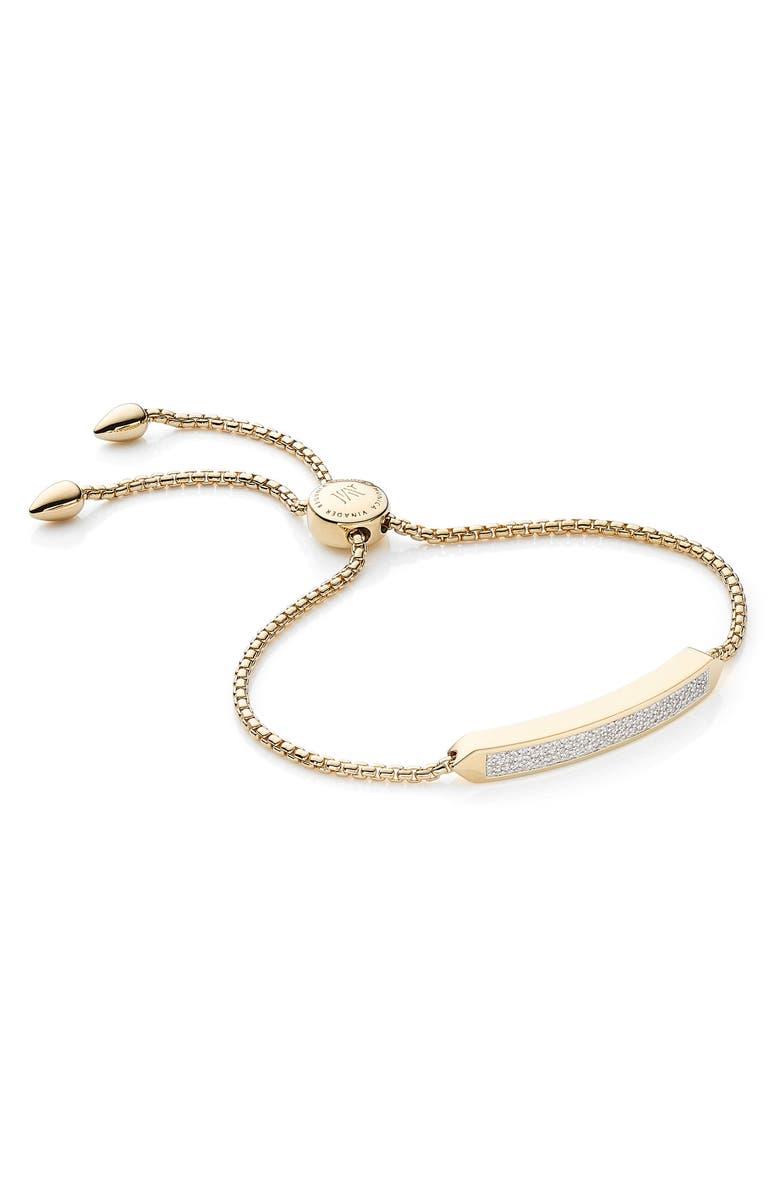 MONICA VINADER Baja Skinny Pavé Diamond Bracelet, Main, color, YELLOW GOLD