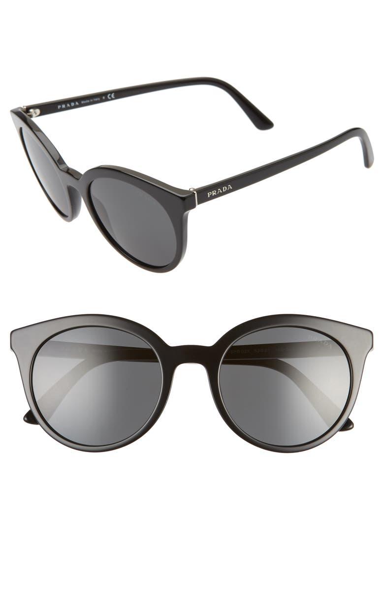 PRADA 53mm Round Cat Eye Sunglasses, Main, color, BLACK/ GREY GRADIENT
