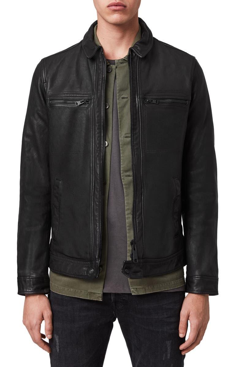 ALLSAINTS Lark Leather Jacket, Main, color, BLACK