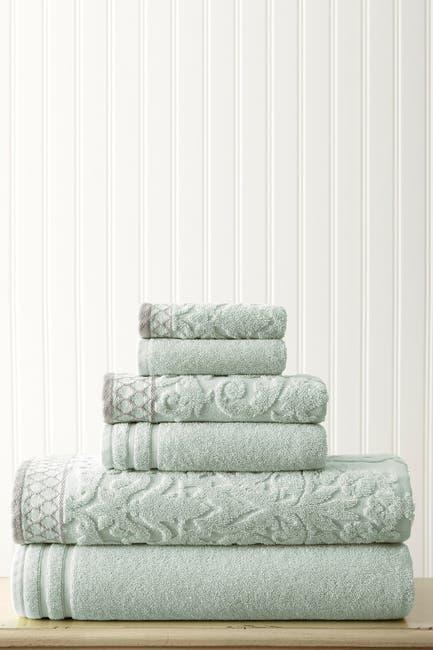 Image of Modern Threads Embellished Border Damask Jacquard Towel 6-Piece Set - Light Blue