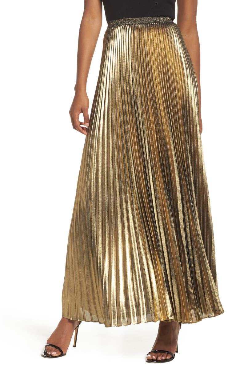 ELIZA J Metallic Pleat Maxi Skirt, Main, color, 020