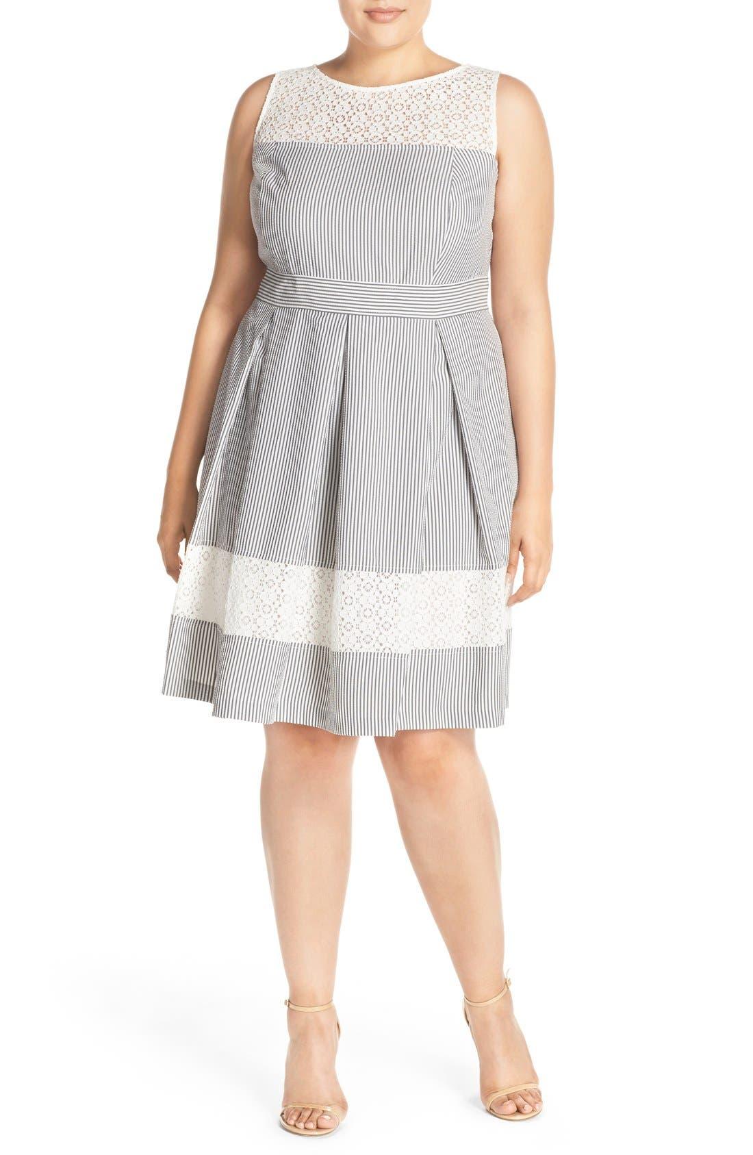 Lace & Seersucker Fit & Flare Dress, Main, color, 020