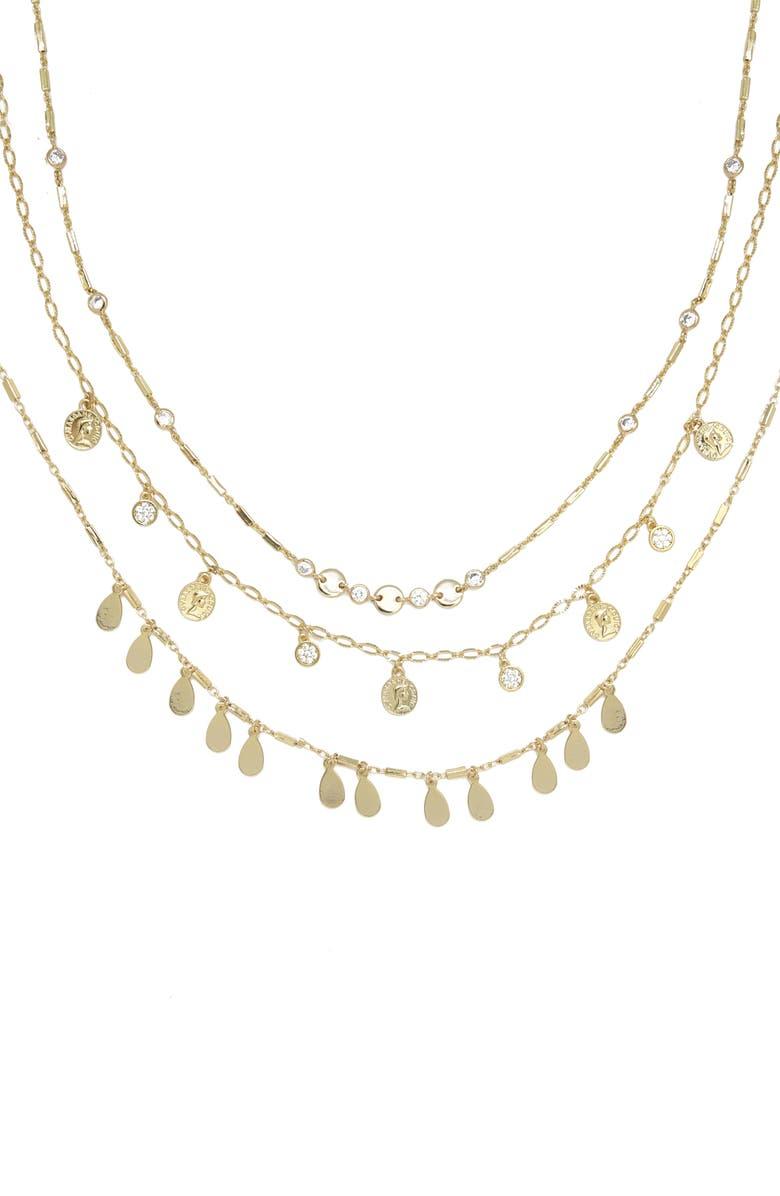 ETTIKA Set of 3 Chain Necklaces, Main, color, GOLD