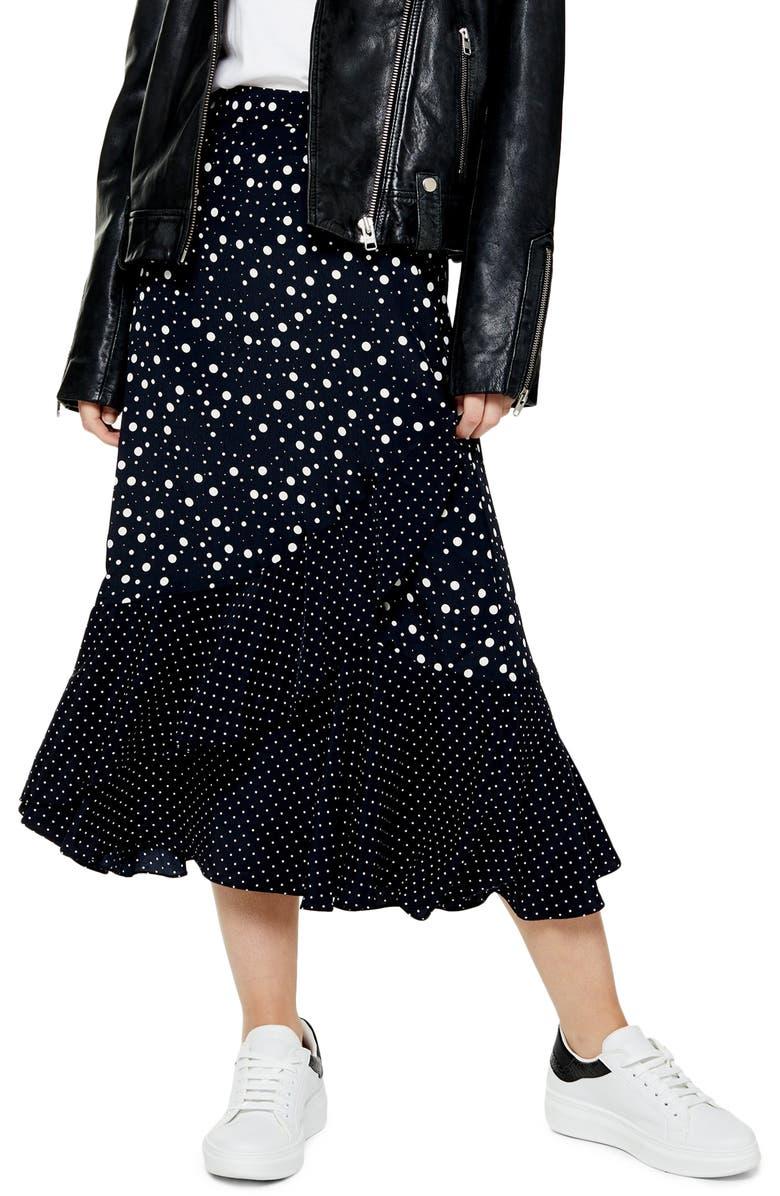 TOPSHOP Vienna Spot Mock Wrap Midi Skirt, Main, color, BLACK MULTI