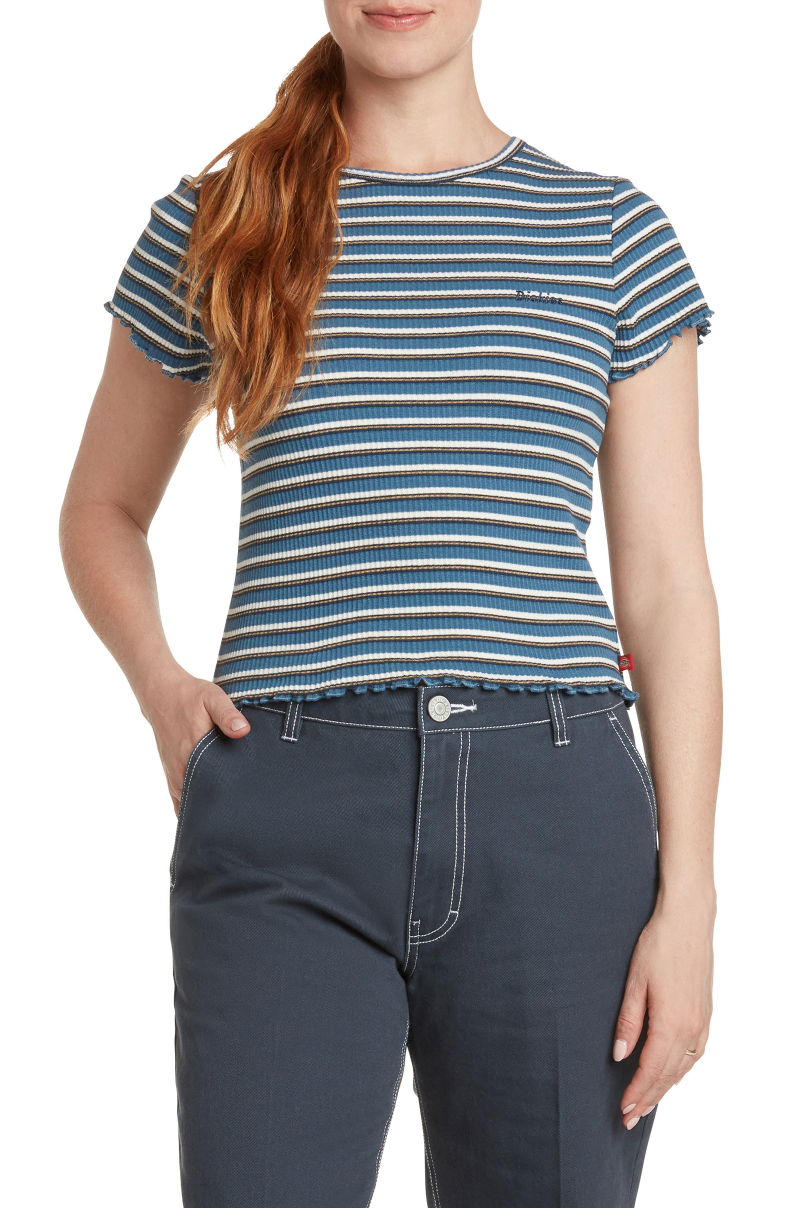Stripe Lettuce Edge Rib T-Shirt