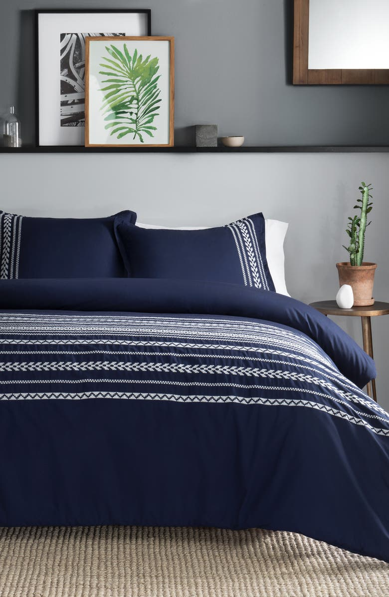 PENDLETON Bohemian Fair Isle Duvet Cover & Sham Set, Main, color, INDIGO