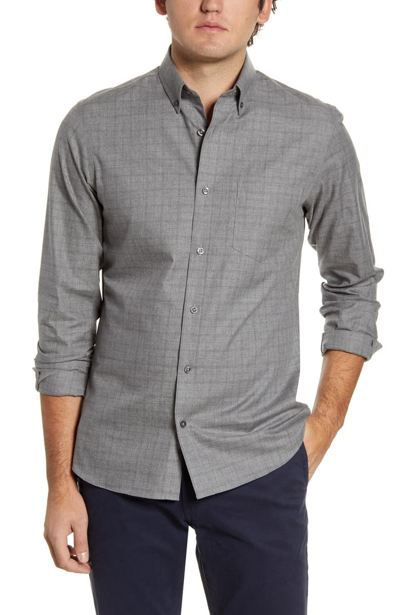 NORDSTROM MEN'S SHOP Trim Fit Button-Down Shirt, Main, color, GREY HEATHER THIN WINDOWPANE