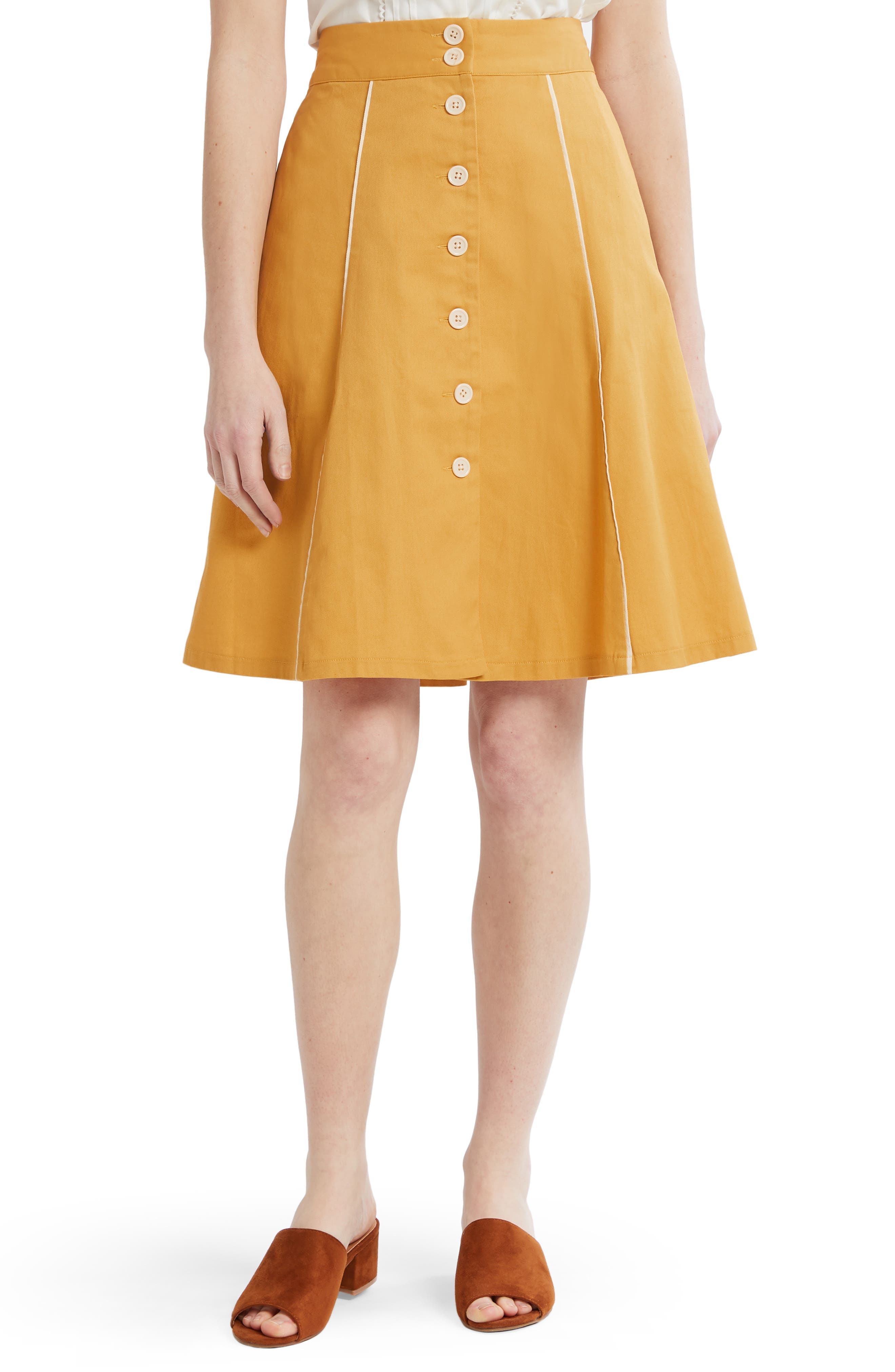 ,                             Button Front A-Line Skirt,                             Main thumbnail 1, color,                             MUSTARD- YOLK YELLOW