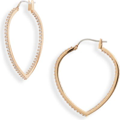 Nordstrom Pointed Oval Pave Inside-Out Hoop Earrings