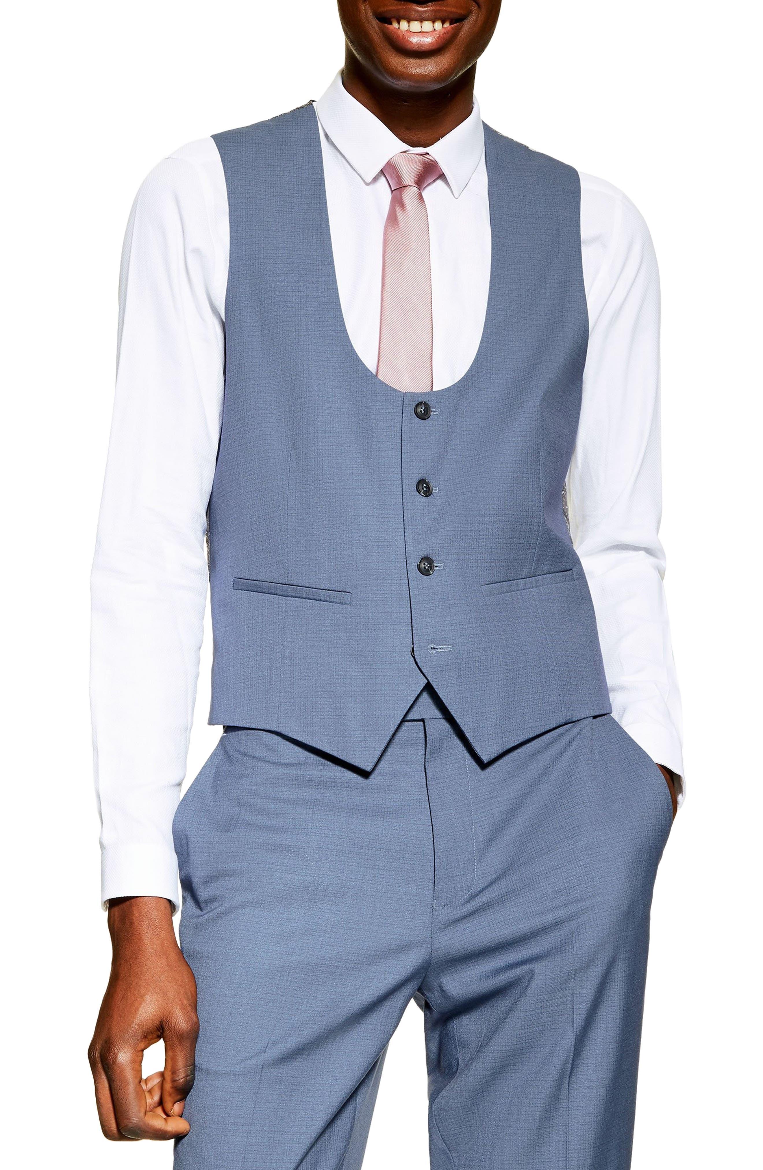 1920s Style Mens Vests Mens Topman Slim Fit Suit Vest Size 48 - Blue $47.98 AT vintagedancer.com