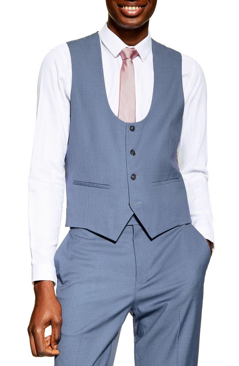 TOPMAN Slim Fit Suit Vest, Main, color, BLUE
