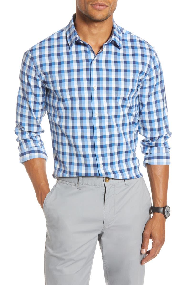BONOBOS Slim Fit Check Tech Shirt, Main, color, EMILIO PLAID - WATER DROP