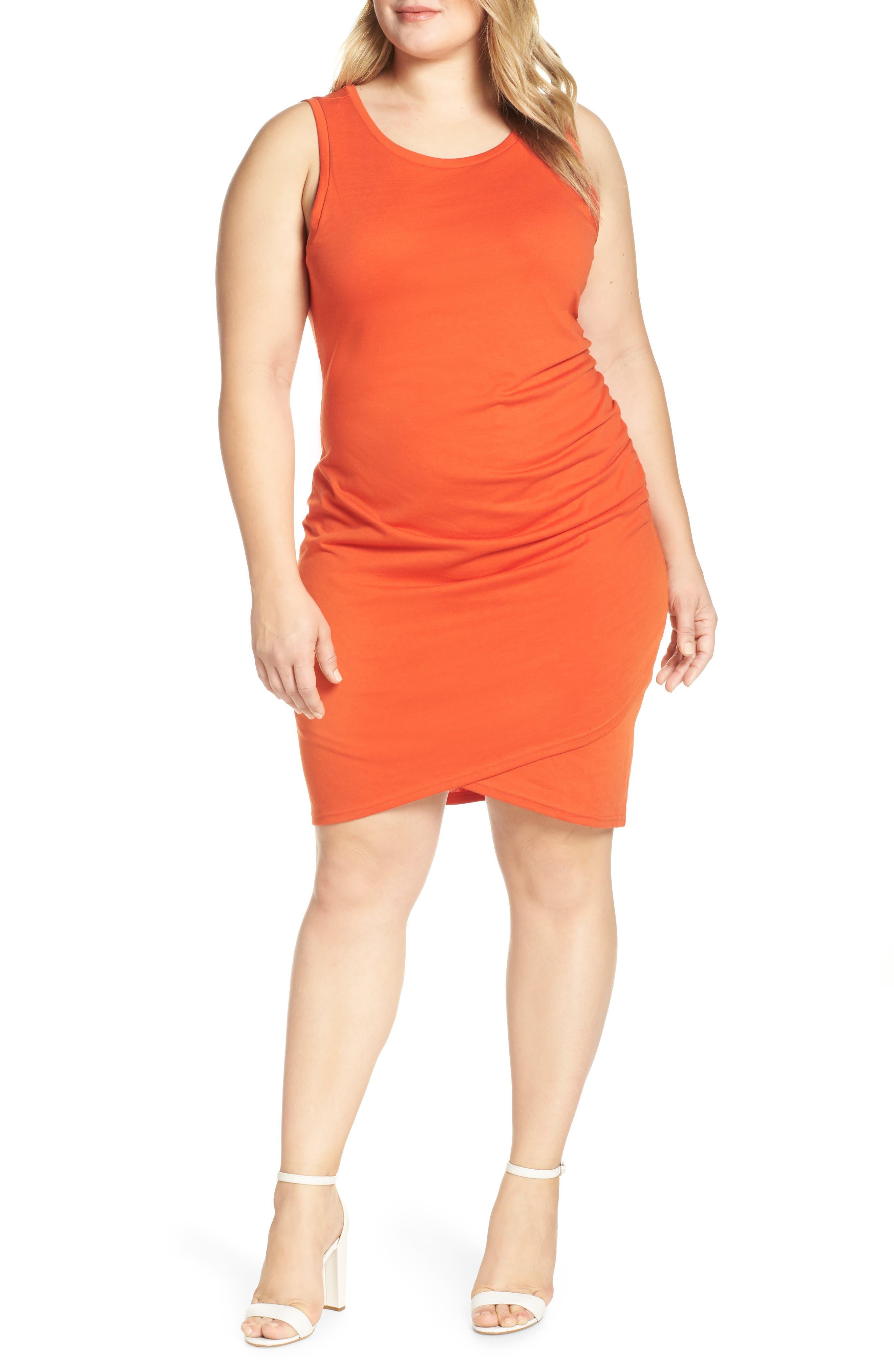 Plus Size Leith Ruched Sheath Dress, Orange