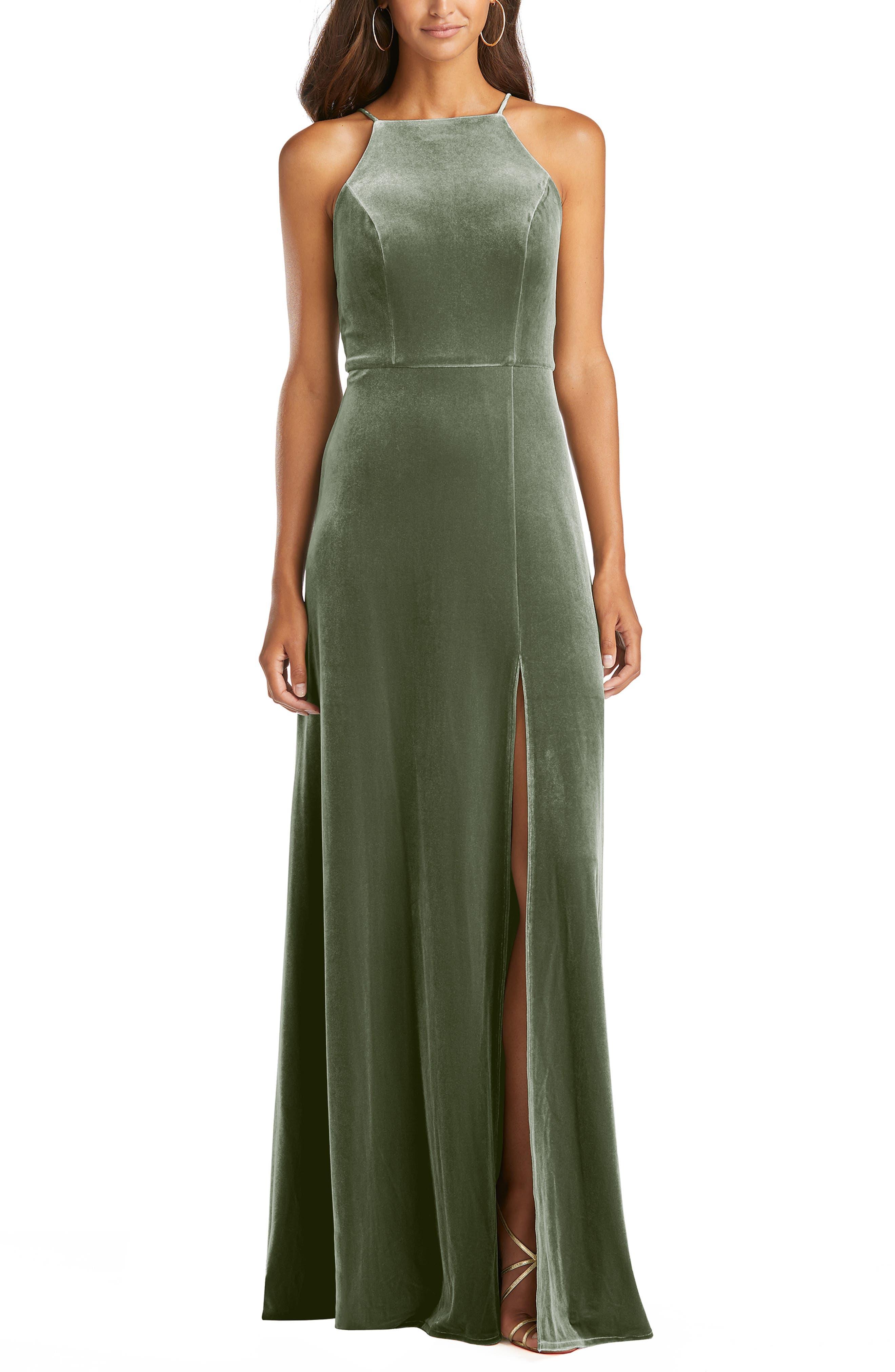Velvet Halter Gown