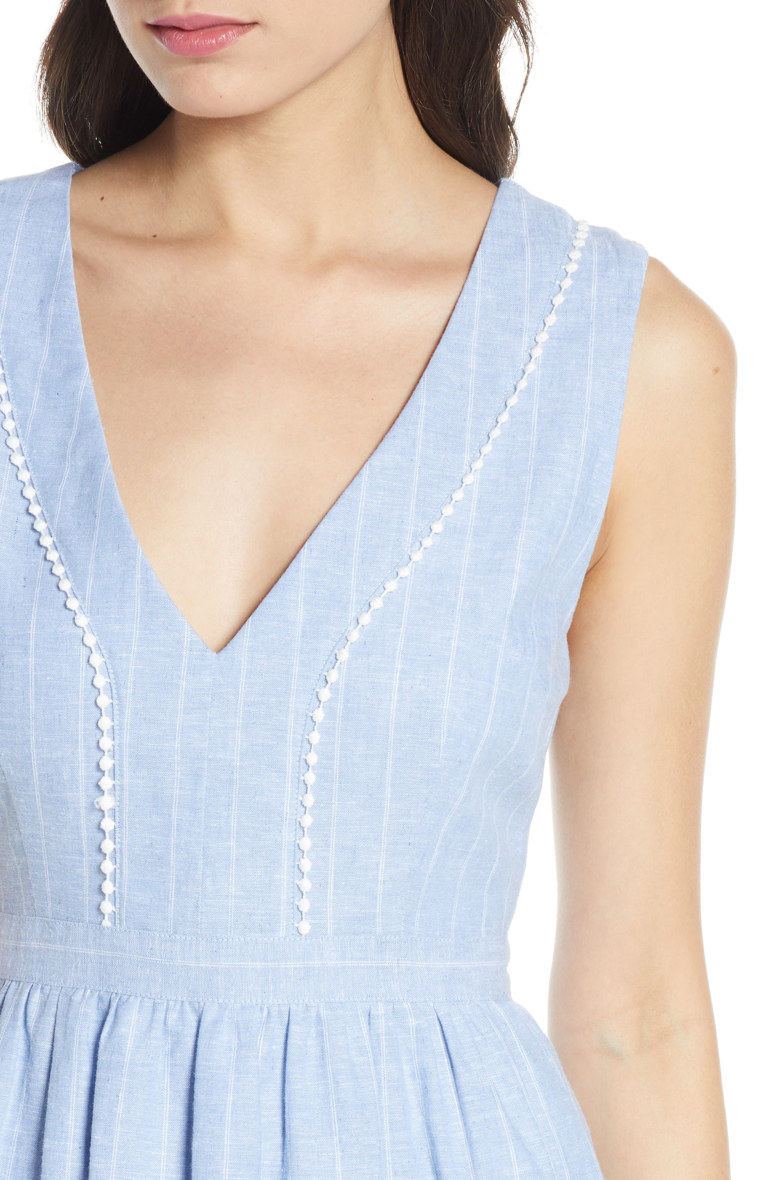 ,                             It's a Date Linen & Cotton Sundress,                             Alternate thumbnail 5, color,                             CHAMBRAY